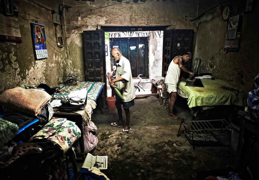 Two men ironing