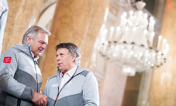 24.01.2018, Hofburg, Wien, Pyeongchang 2018, Vereidigung der Olympia-Mannschaft durch den Bundespräsidenten, im Bild ÖSV-Sportdirektor Hans Pum und ÖSV-Präsident Peter Schröcksnadel // Sports Director of the Austrian Ski Association Hans Pum and President of the Austrian Ski Association Peter Schroecksnadel during the swearing-in of the Austrian National Olympic Committee for Pyeongchang 2018 at Hofburg in Vienna, Austria on 2018/01/24, EXPA Pictures © 2018 PhotoCredit: EXPA/ Michael Gruber