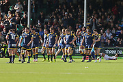Worcester Warriors Will Spencer  Lock (5) celebrates the winning try with his team making it 25-16 second hal during the Aviva Premiership match between Worcester Warriors and Bath Rugby at Sixways Stadium, Worcester, United Kingdom on 15 April 2017. Photo by Gary Learmonth.
