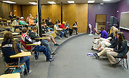 Waldorf student ambassadors answer questions for prospective students during an open house at Waldorf College in Forest City, Iowa on Saturday, May 14, 2011.