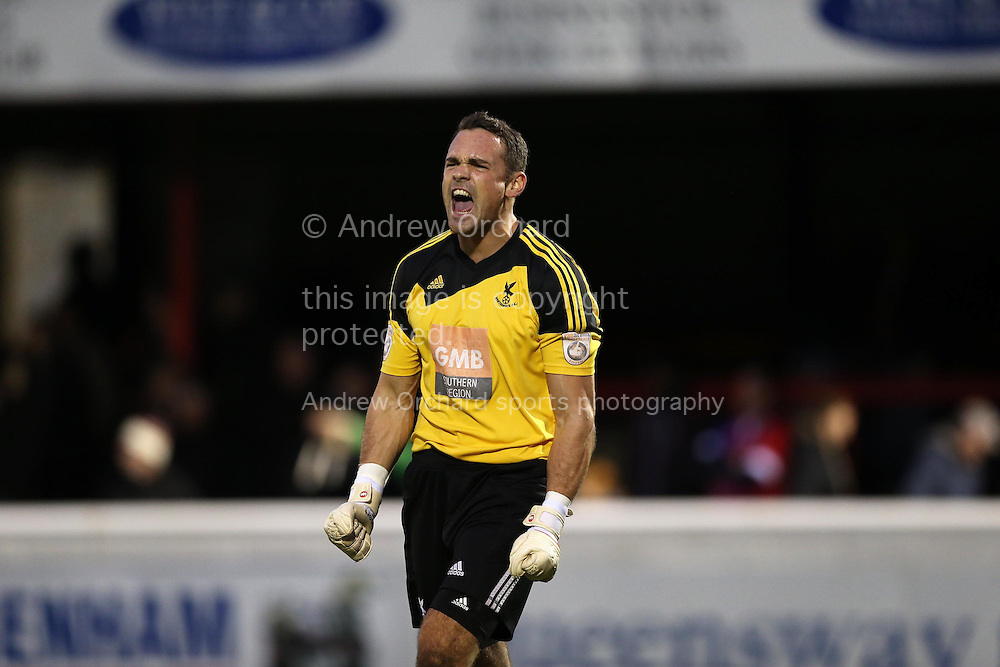 Goalkeeper Craig Rose of Whitehawk celebrates after the final whistle. The Emirates FA Cup, 2nd round match, Dagenham &amp; Redbridge v Whitehawk FC at the The London Borough of Barking &amp; Dagenham Stadium in London on Sunday 6th December 2015.<br /> pic by John Patrick Fletcher, Andrew Orchard sports photography.