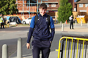 AFC Wimbledon Finlay Macnab (34) arriving during the EFL Trophy (Leasing.com) match between AFC Wimbledon and U23 Brighton and Hove Albion at the Cherry Red Records Stadium, Kingston, England on 3 September 2019.