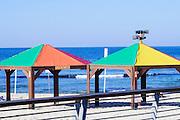Gay rainbow flag colours on a beach in Tel Aviv, Israel,