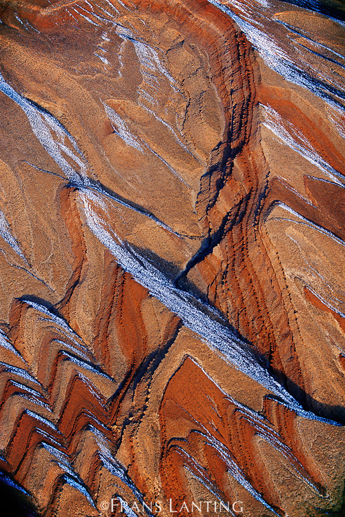 Snow covered sandstone (aerial), Comb Ridge, Utah