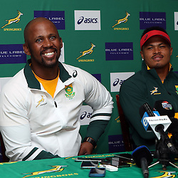 DURBAN, SOUTH AFRICA, 4 October, 2016 - Rugby Championship, Mzwandile Stick (Assistant Coach backline) of South Africa with Juan de Jongh during the South African (Springbok) Media conference at Kashmir Restaurantin Durban, South Africa. (Photo by Steve Haag)