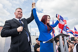 © Licensed to London News Pictures . 22/07/2017 . Rochdale , UK . PAUL GOLDING and JAYDA FRANSEN . Britain First hold a demonstration in Rochdale , opposed by anti-fascist groups . Britain First say they are highlighting concerns about child sexual exploitation in the town . Photo credit: Joel Goodman/LNP