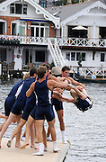 Henley, Great Britain.  Henley Royal Regatta. University of California, Berkeley, USA, M8+, celebrate, with the traditional ritual, of tossing the Cox in the Thames, after winning the Temple Challenge Cup. River Thames Henley Reach.  Royal Regatta. River Thames Henley Reach.  Sunday  03/07/2011  [Mandatory Credit  Karon Phillips/ Intersport Images] 2011 Henley Royal Regatta. HOT. Great Britain . HRR