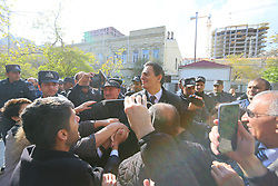 November 19, 2018 - Azerbaijan - Several hundred PFPA activists greetings their leader at the courthouse in Baku. November 19, 2018. Opposition Leader Popular Front Party Ali Karimli has been released in Baku. The Sabail district court released the leader of the Popular Front Party Ali Kerimli, obliging him to pay a fine in the amount of 2,500 manat. He was found guilty of administrative misconduct - the organization and participation in an unauthorized procession. Several hundred PFPA act (Credit Image: © Aziz Karimov/Pacific Press via ZUMA Wire)