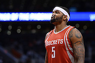 Feb 4, 2016; Phoenix, AZ, USA;  Houston Rockets center Josh Smith (5) reacts on the court during the game against the Phoenix Suns at Talking Stick Resort Arena. Mandatory Credit: Jennifer Stewart-USA TODAY Sports