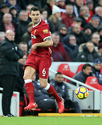 30.12.2017, Anfield Road, Liverpool, ENG, Premier League, FC Liverpool vs Leicester City, 21. Runde, im Bild Dejan Lovren of Liverpool // Dejan Lovren of Liverpool during the English Premier League 21th round match between FC Liverpool and Leicester City at the Anfield Road in Liverpool, Great Britain on 2017/12/30. EXPA Pictures © 2017, PhotoCredit: EXPA/ Focus Images/ Simon Moore<br /> <br /> *****ATTENTION - for AUT, GER, FRA, ITA, SUI, POL, CRO, SLO only*****