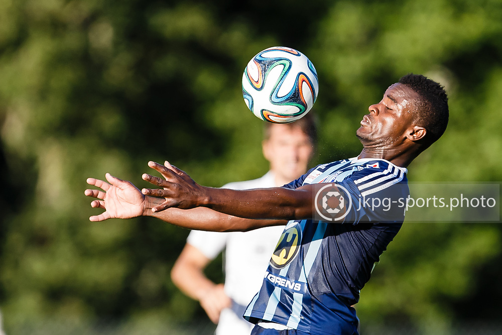 150819 Fotboll, Svenska cupen, Huskvarna - H&auml;cken<br /> Zakaria Abdullai, Husqvarna FF, singel action.<br /> &copy; Daniel Malmberg/All Over Press