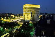 France. Paris. elevated view.  the arc de triomphe and place de l'etoile view from the splendid hotel 1 avenue carnot 75017 paris
