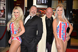 Pictured are Union Jack girls Roxanna (left) and Natalie (right) with Dave Courtney and on screen brother Jerry Anderson.<br /> London gangster Dave Courtney arrives on the red carpet for the film premiere of 'Full English Breakfast' that he stars in, at The Prince Charles Cinema, London, UK.<br /> Tuesday, 25th March 2014. Picture by Ben Stevens / i-Images