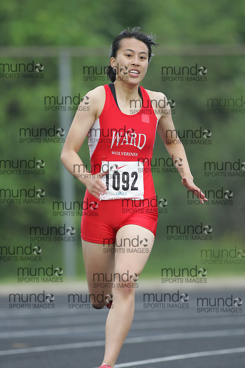 Hamilton, Ontario ---05/06/08--- Melannie Lui of Mary Ward in Scarborough competes in the 400 meters at the 2008 OFSAA Track and Field meet in Hamilton, Ontario..Sean Burges