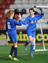 Elmlea School celebrate after winning the Girls Bristol Sport Schools Cup - Photo mandatory by-line: Dougie Allward/JMP - Mobile: 07966 386802 - 19/03/2015 - SPORT - Football - Bristol - Ashton Gate - Bristol Sport Schools Cup