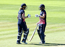 Sarah Taylor of England Women and Heather Knight of England Women fist bump - Mandatory by-line: Robbie Stephenson/JMP - 02/07/2017 - CRICKET - County Ground - Taunton, United Kingdom - England Women v Sri Lanka Women - ICC Women's World Cup Group Stage