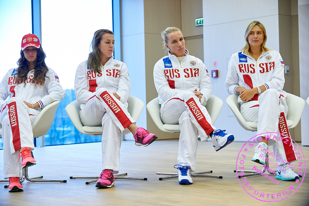 (L-R) Vitalia Diatchenko and Anastasia Pavyuchenkova and Svetlana Kuznetsova and Maria Sharapova all from Russia during official draw one day before the Fed Cup / World Group 1st round tennis match between Poland and Russia at Holiday Inn on February 6, 2015 in Cracow, Poland.<br /> <br /> Poland, Cracow, February 6, 2015<br /> <br /> Picture also available in RAW (NEF) or TIFF format on special request.<br /> <br /> For editorial use only. Any commercial or promotional use requires permission.<br /> <br /> Adam Nurkiewicz declares that he has no rights to the image of people at the photographs of his authorship.<br /> <br /> Mandatory credit:<br /> Photo by &copy; Adam Nurkiewicz / Mediasport