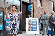 17 August- New York, NY:  (L-R) New York City Council Candidate Laurie Cumbo, New York State Assemblyman Walter Mosely, and U.S. Congressman Hakeem Jefferies attend the endorsement announcement by U.S.Congressman Hakeem Jeffries of Laurie Cumbo for City Council District 35 held at the Laurie Cumbo Campaign Headquarters in the Prospect Heights section of Brooklyn, NY on August 17, 2013 in New York City. © Terrence Jennings