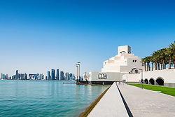 View of Museum of Islamic Art and skyline of city in Doha Qatar