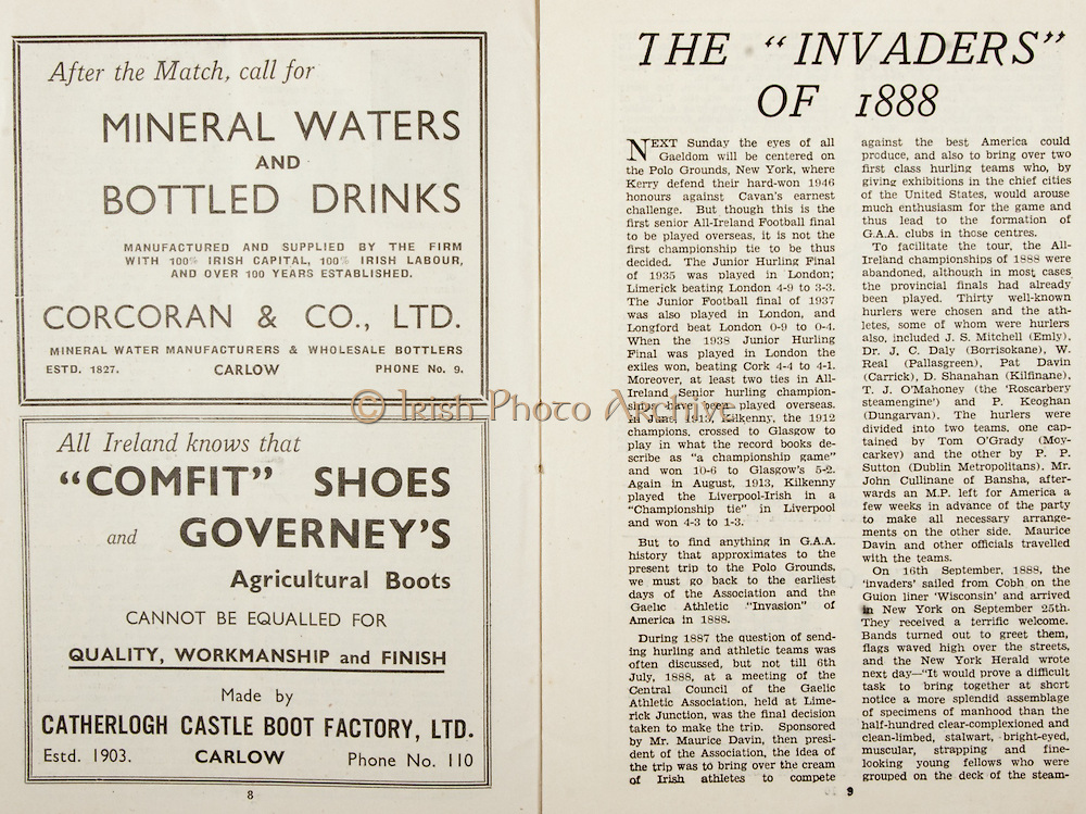 All Ireland Senior Hurling Championship Final,.Brochures,.07.09.1947, 09.07.1947, 7th September 1947,.Kilkenny 0-14, Cork 2-7,.Minor Galway v Tipperary, .Senior Kilkenny v Cork, .Croke Park,..Advertisements, Mineral Waters and Bottled Drinks Corcoran & Co Ltd, Comfit Shoes Catherlogh Castle Boot Factory Ltd, ..Articles, The '' Invaders '' of I888,