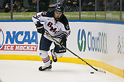 Robert Morris defenseman Eric Israel skates with the puck during the Atlantic Hockey final against RIT at the Blue Cross Arena in Rochester on Saturday, March 19, 2016.