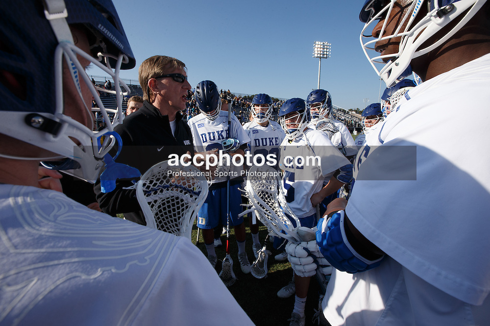 DURHAM, NC - FEBRUARY 08: Head coach John Danowski of the Duke Blue Devils plays against the Jacksonville Dolphins on February 08, 2014 at Koskinen Stadium in Durham, North Carolina. Duke won 16-10.