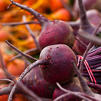 Red and Golden beets at a farmers market