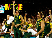 Melbourne 2006 Commonwealth Games. Mens Basketball. Gold Medal. Australia vs New Zealand. The Australian team celebrate their win.