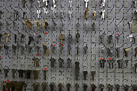 Keys on display in store