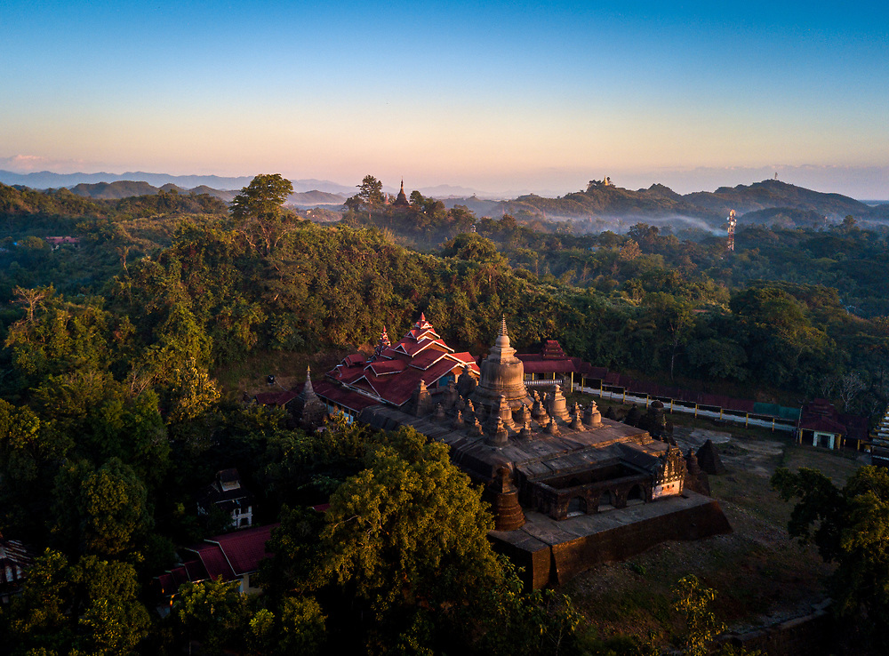 MRAUK U, MYANMAR - CIRCA DECEMBER 2017: Aerial view of the The Shaitthaung Temple, also spelled Shitthaung according to Standard Burmese pronunciation, is a famous temple in Mrauk U.