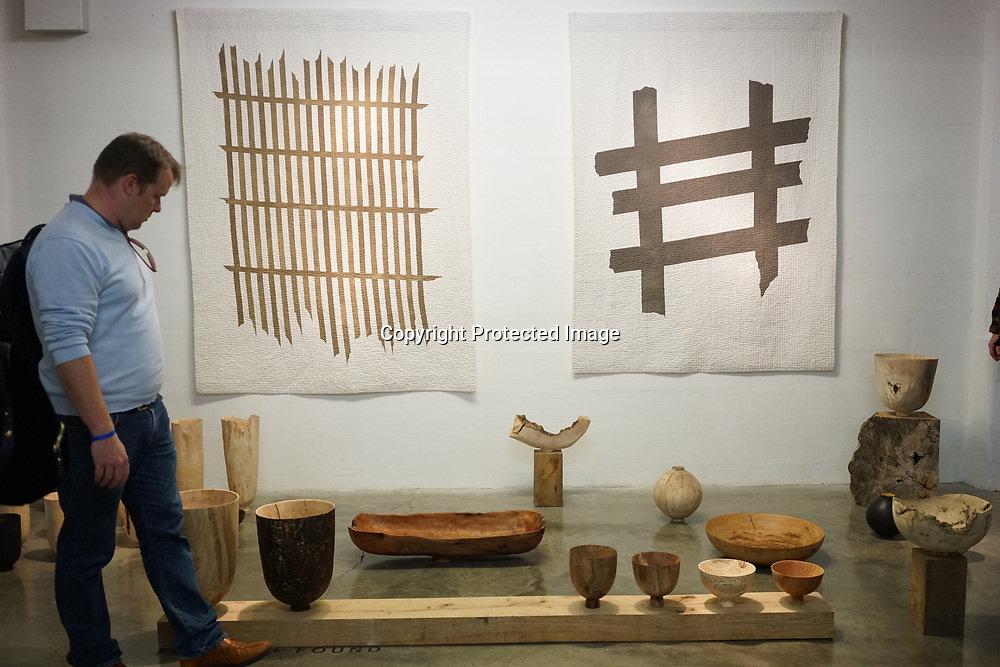 """Old Truman Brewery, London, England, UK. 22th September 2017. Max and Abigail work with wood, natural pigments and textiles, to produce sculptural of """"Forest + Found"""" showcases at London Design Fair 2017."""