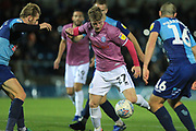 Andy Cannon shoots during the EFL Sky Bet League 1 match between Wycombe Wanderers and Rochdale at Adams Park, High Wycombe, England on 23 October 2018.