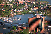 Aerial view of downtown Hampton with Hampton Univerity in the distance.  Hampton Roads/Newport News Virginia.