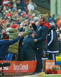 LIVERPOOL, ENGLAND - Sunday, December 13, 2015: Liverpool's manager Jürgen Klopp celebrates the late equalising goal during the Premier League match against West Bromwich Albion at Anfield. (Pic by James Maloney/Propaganda)