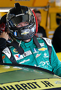 NASCAR Sprint Cup Series auto racing driver Dale Earnhardt Jr. prepares for a morning practice at Kansas Speedway in Kansas City, Kan., Saturday, Oct. 17, 2015. (AP Photo/Colin E. Braley)