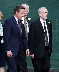 © Licensed to London News Pictures. 20/06/2016. London, UK. Members of Parliament, including British prime minister DAVID CAMERON and Labour Party leader JEREMY CORBYN arrive at St Margaret's Church, Westminster Abbey to take part in a Service of Prayer and Remembrance to commemorate Jo Cox MP, who was killed in her constituency on June 16, 2016. Photo credit: Peter Macdiarmid/LNP