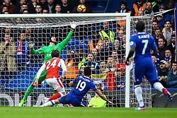 Diego Costa of Chelsea shot beats Petr Cech of Arsenal but hits the cross bar - Mandatory by-line: Jason Brown/JMP - 04/01/2017 - FOOTBALL - Stamford Bridge - London, England - Chelsea v Arsenal - Premier League