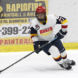 WELLINGTON, ON - FEBRUARY 9: Elijah Gonsalves #27 of the Wellington Dukes skates with the puck during the second period on February 9, 2019 at Wellington and District Community Centre in Wellington, Ontario, Canada.<br /> (Photo by Tim Bates / OJHL Images)