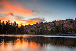 """Sunset at Lower Rock Lake 2"" - Sunset photo shot at Lower Rock Lake in the back country of the Tahoe National Forest."
