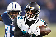 NASHVILLE, TN - DECEMBER 31:  Dede Westbrook #12 of the Jacksonville Jaguars drops a pass during a game against the Tennessee Titans at Nissan Stadium on December 31, 2017 in Nashville, Tennessee.  The Titans defeated the Jaguars 15-10.  (Photo by Wesley Hitt/Getty Images) *** Local Caption *** Dede Westbrook