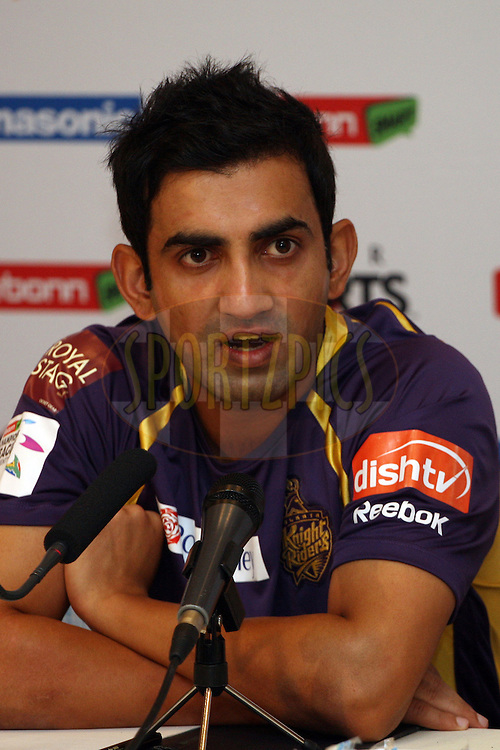 Gautam Gambhir during a press conference of the Kolkata Knight Riders in the Karbonn Smart CLT20 held at the Sandton Convention Centre in Johannesburg, South Africa on the 12th October 2012. Photo by Jacques Rossouw/SPORTZPICS/CLT20