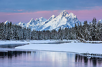 Sonnenaufgang am Snake River im Grand Teton Nationalpark, USA