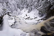 Laughing Whitefish Falls in the winter at the Laughing Whitefish Falls State Scenic Area near Sundell