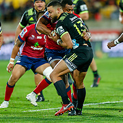 Matt Proctor tackled during the Super rugby union game (Round 14) played between Hurricanes v Reds, on 18 May 2018, at Westpac Stadium, Wellington, New  Zealand.    Hurricanes won 38-34.