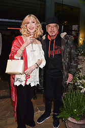 Basia Briggs and Nicky Haslam at The Ivy Chelsea Garden's Annual Summer Garden Party, The Ivy Chelsea Garden, 197 King's Road, London England. 9 May 2017.<br /> Photo by Dominic O'Neill/SilverHub 0203 174 1069 sales@silverhubmedia.com