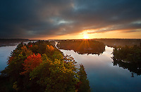 Beautiful Autumn Sunrise Aerial Vista From Ivy Lea Bridge, Thousand Islands Region, Gananoque, Ontario, Canada