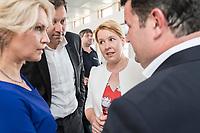 04 JUN 2019, BERLIN/GERMANY:<br /> Manuela Schwesig, SPD, Ministerpraesidentin Mecklenburg-Vorpommern, Lars Klingbeil, SPD Generalsekretaer, Franziska Giffey, SPD, Bundesfamilienministerin, und Hubertus Heil, SPD, Bundesarbeitsminister, (v.L.n.R.), im Gespraech, Spargelfahrt des Seeheimer Kreises der SPD, Wannsee<br /> IMAGE: 20190504-01-132