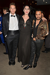 Left to right, TOMAS AUKSAS, ROSSY DE PALMA and PABLO GANGULI at a dinner hosted by Liberatum to honour Francis Ford Coppola held at the Bulgari Hotel & Residences, 171 Knightsbridge, London on 17th November 2014.