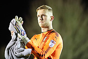 AFC Wimbledon goalkeeper George Long (1) clapping during the EFL Sky Bet League 1 match between AFC Wimbledon and Wigan Athletic at the Cherry Red Records Stadium, Kingston, England on 16 December 2017. Photo by Matthew Redman.