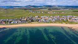 Aerial view of village of Earlsferry in East Neuk of Fife, Scotland, UK
